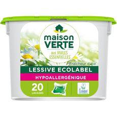 MAISON VERTE Lessive capsules aux huiles essentielles fraîcheur d'été 20 lavages 20 capsules