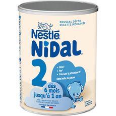NESTLE Nidal 2 lait 2ème âge en poudre dès 6 mois 800g