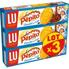 PEPITO Biscuits nappés de chocolat au lait 3 paquets de 192g
