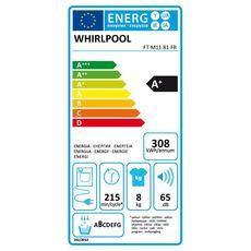 WHIRLPOOL Sèche linge hublot FTM1181FR, 8 kg, Pompe à chaleur, A+