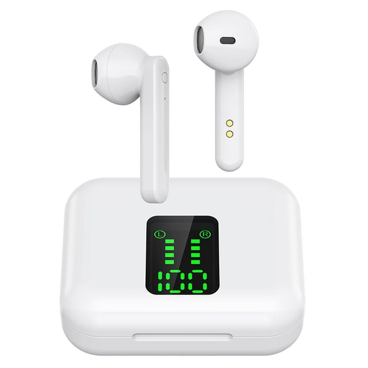 Écouteurs sans fil Bluetooth avec étui de charge et écran - Blanc - BLP 4895