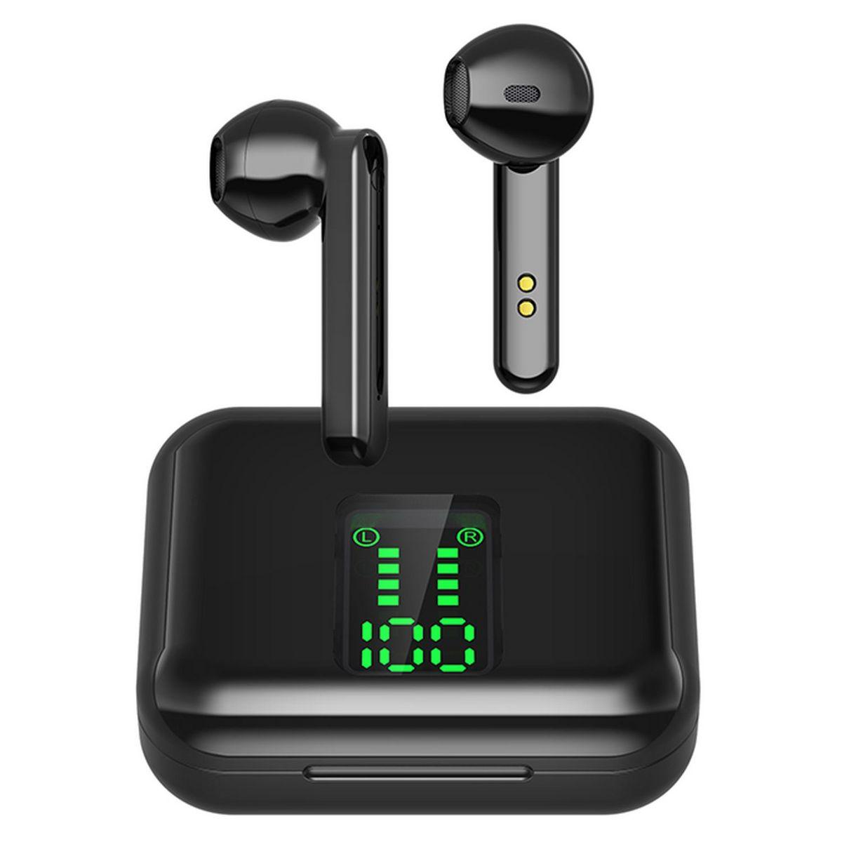 Écouteurs sans fil Bluetooth avec étui de charge et écran - Noir - BLP 4895