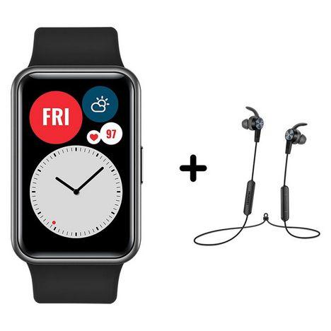 HUAWEI Pack Montre connectée Watch Fit - Noir + Ecouteurs AM61