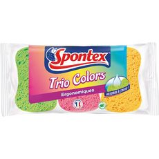 SPONTEX Eponges ergonomiques colorées biodégradables 3 éponges