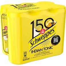 SCHWEPPES Boisson gazeuse indian tonic au quinquina boîtes slim 6x33cl