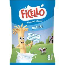 FICELLO Bâtonnets de fromage à effilocher nature 8 bâtonnets 168g