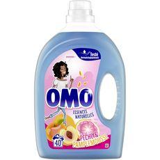 OMO Lessive liquide pêche & pamplemousse 40 lavages 2l