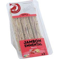 AUCHAN Sandwich jambon emmental 230g