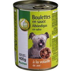 AUCHAN ESSENTIEL Boulettes en sauce à la volaille pour chien 400g