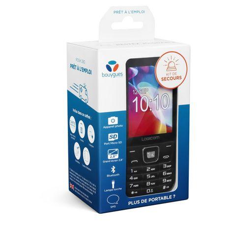LOGICOM Coffret mobile Posh 280 noir + carte SIM prépayée + 1 chargeur + 1 kit oreillette + guide d'utilisation