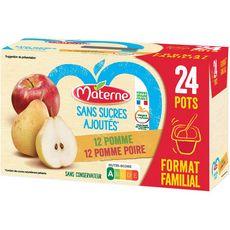 MATERNE Dessert aux fruits pomme poire coupelles sans sucres ajoutés 24x100g