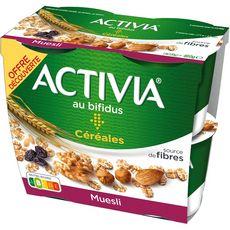 ACTIVIA Yaourt au bifidus céréales muesli 4x120g