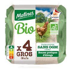 MATINES MATINES Œuf gros bio de poules élevées en plein air sans OGM x4 4 oeufs