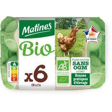 MATINES Matines Oeufs de Poule élevées en plein air bio x6 x6