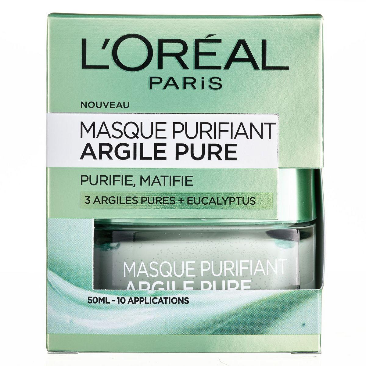 L'Oréal Masque purifiant aux 3 argiles pures + eucalyptus 50ml