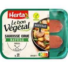 HERTA Le bon végétal saucisses crues nature 2 saucisses 180g