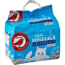 AUCHAN Litière minérale absorbante hygiène 10l