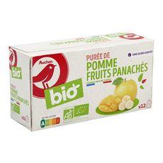 AUCHAN BIO Gourdes purée pomme fruits panachés sans sucres ajoutés bio 12 gourdes 1,08kg