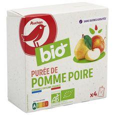 AUCHAN BIO Purée de pomme poire sans sucre ajoutés gourdes 4x90g