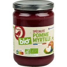 AUCHAN BIO Spécialité pomme myrtille bocal sans sucres ajoutés bio 580g