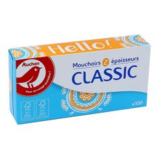AUCHAN Mouchoirs classic 2 épaisseurs boite 100 mouchoirs