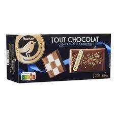 AUCHAN GOURMET Bûche glacée damier tout chocolat crèmes glacées et brownie 7 parts 569g