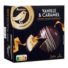 AUCHAN GOURMET Dôme glacé vanille caramel crèmes glacées et brownie 6 parts 520g