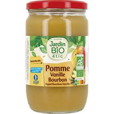 JARDIN BIO ETIC Dessert pomme vanille bourbon sans sucres ajoutés, en bocal 680g