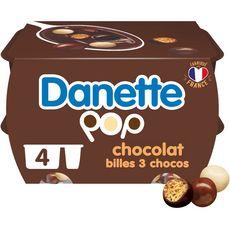 Danone DANETTE Danette POP Crème dessert chocolat billes 3 chocolats 4x117g