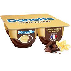 DANETTE Crème dessert vanille lit de chocolat 4x125g