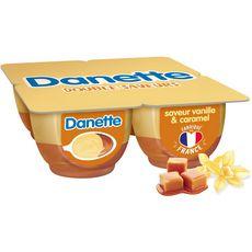 DANETTE Crème dessert vanille lit de caramel 4x125g