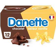 DANETTE Crème dessert au chocolat et à la vanille 12x125g
