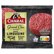 CHARAL Steaks hachés race limousine 12%mg 2 pièces 260g