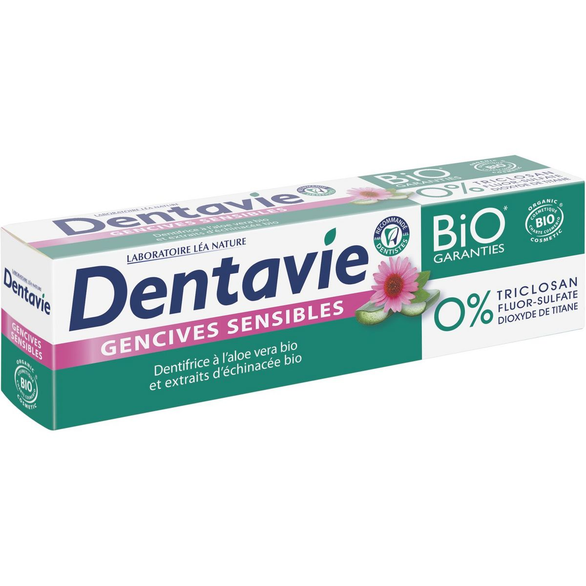 Dentavie Dentifrice gencives sensibles aloe vera & échinacée bio 75ml