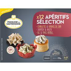 FRANCAISE DE GASTRONOMIE Apéritif courgettes graines de chia saumon aneth ail et fines herbes 12 pièces 110g