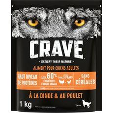 CRAVE Croquettes dinde et poulet pour chien 1kg