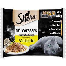 SHEBA Délicatesse sachets repas volaille en gelée pour chat 4x85g