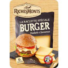 RICHESMONTS Fromage à raclette nature pour burger en tranches 6 tranches 140g