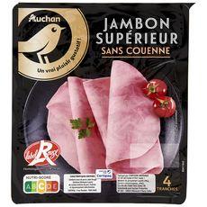 AUCHAN GOURMET Jambon blanc supérieur sans couenne 4 tranches 180g