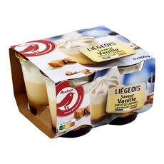 AUCHAN Liégeois à la vanille sur lit de caramel 4x100g