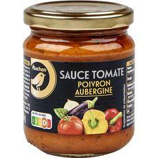 AUCHAN GOURMET Sauce cuisinée poivrons et aubergines, en bocal 190g