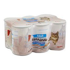 AUCHAN Adult boîtes terrines de pâtée poissons pour chat 6x400g