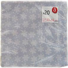 Actuel Serviettes en papier décorées 33x33cm flocons argent x20