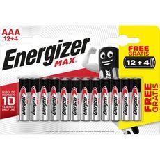 ENERGIZER Energizer Piles LR03/AAA alcaline max 1.5V 12+4 offertes 12 piles +4 offertes