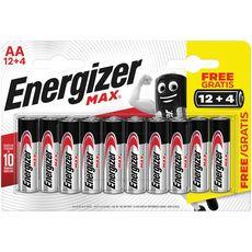 ENERGIZER Energizer Piles LR06/AA alcaline max 1.5V 12+4 offertes 12 piles +4 offertes