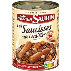 WILLIAM SAURIN Saucisses aux lentilles sans colorant sans arôme artificiel 1 personne 420g