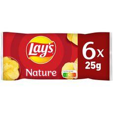 LAY'S Chips nature - sachets individuels lot de 6 6x27,5g