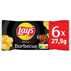 LAY'S Chips saveur barbecue - sachets individuels lot de 6 6x27,5g