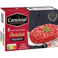 CONVIVIAL Steak haché Charolais 15%MG façon bouchère 8 steaks 800G