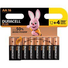 Duracell Plus Piles LR06/AA alcalines power plus 1.5V 12+4 offertes